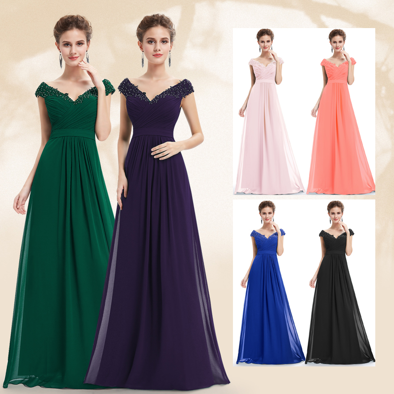 a56efe0cdb7 Ever Pretty Evening Dresses EP08633 Women Elegant Sexy Beading Deep V neck  Long Evening Gown 2018