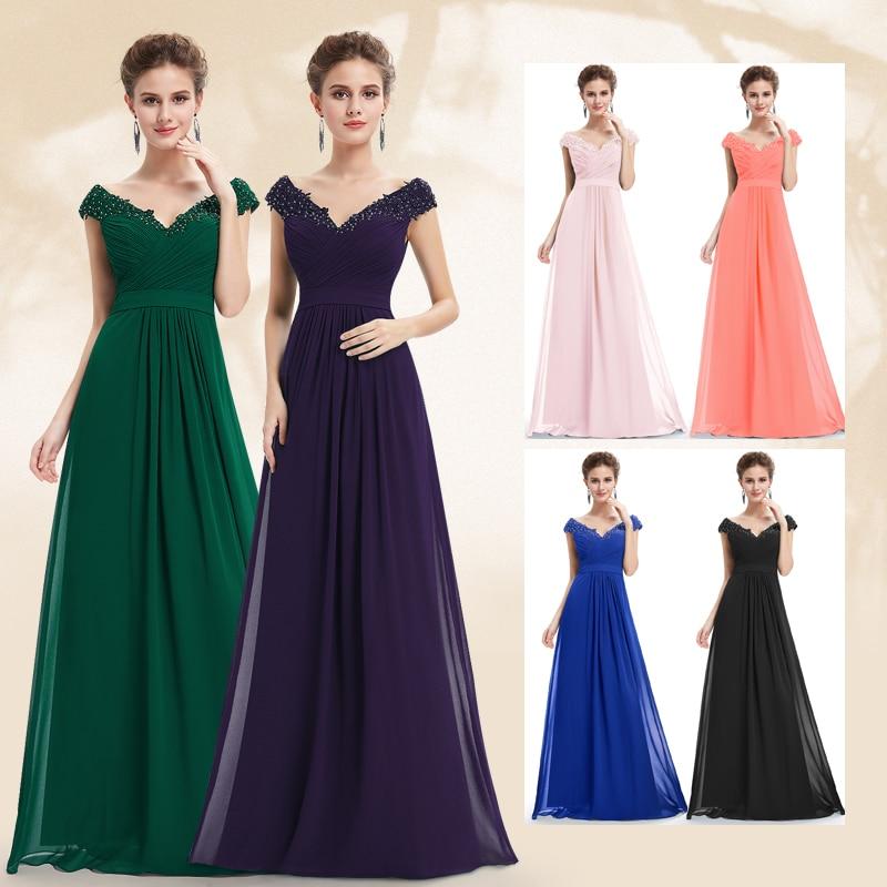 Ever Pretty Evening Dresses EP08633 Women Elegant Sexy Beading Deep V Neck Long Evening Gown 2018 Chiffon Dress Robe De Soiree