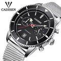 Мужские кварцевые часы CADISEN  спортивные водонепроницаемые часы до 30 м с секундомером  2019