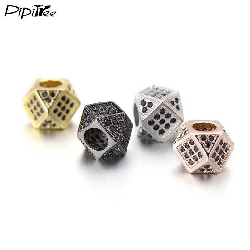 Pipitree CZ Kristal halka boncuk DIY Takı Yapımı Bulgular Bakır Charm Yuvarlak Taç Leopar Kafatası Boncuk Bilezik için Toptan