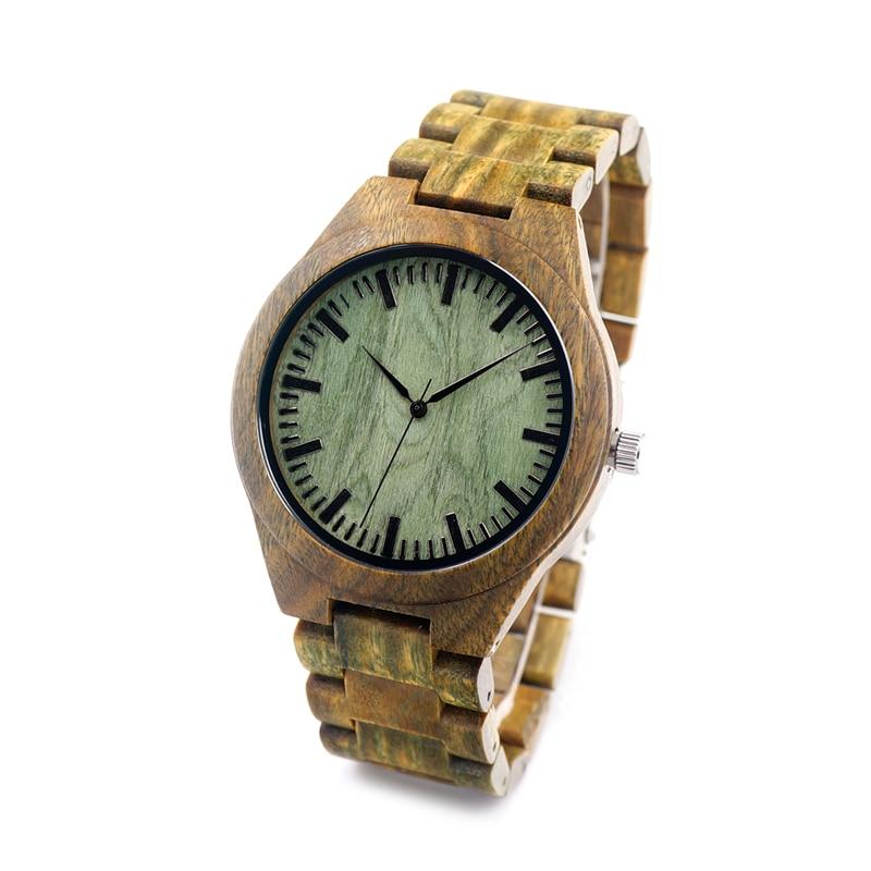BOBOBIRD G19 Mens Luxury Brand Wood Watches Full Wooden Quartz Watch Real Green Sandal Pockwood Handmade