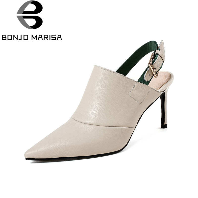 BONJOMARISA 2019 Spring Summer Comfort Genuine Leather Women Slingbacks Pumps Mature Pointed Toe High Heels Ol Shoes WomanBONJOMARISA 2019 Spring Summer Comfort Genuine Leather Women Slingbacks Pumps Mature Pointed Toe High Heels Ol Shoes Woman