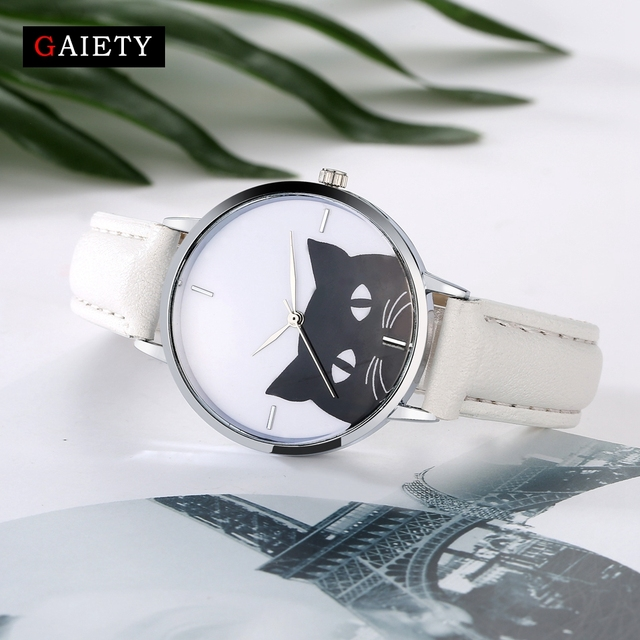 Female Cat Stainless Steel Watch