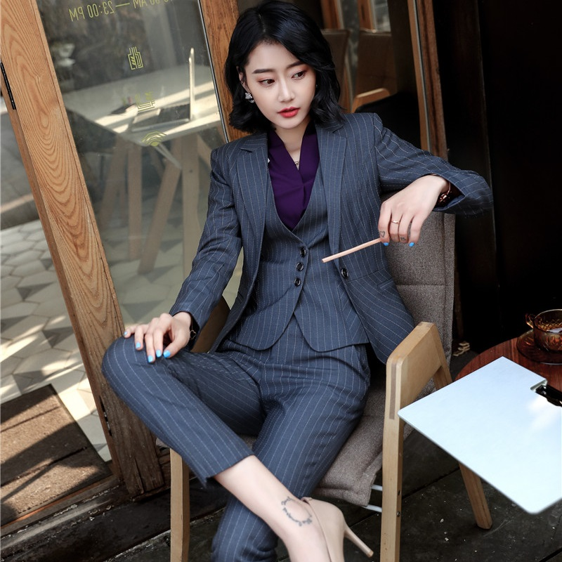 2018 Fashion Striped Uniform Styles Pantsuits With 3 pieces Jackets + Pants + Vest & Waistcoat For Female Pants Suits Plus Size