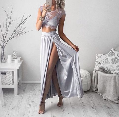 Two Pieces Beach Chiffon Long See Through Prom Dresses 2016 Robe Bal De  Promo Side Slit Party Lace Formal Occasion Gowns-in Prom Dresses from  Weddings ... bd84142a59a9