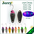 Jerry dos lado pintura micro pesca cuchara de trucha señuelos UL ultraligero de pesca de agua dulce cebo artificial,