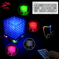 New 3D 8S 8x8x8 Mini Mp3 Music Light Cubeeds Kit Built In Audio Spectrum For TF