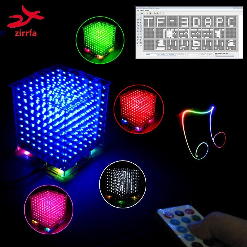 Nouveau 3D 8 s 8x8x8 mini mp3 musique lumière cubeeds kit intégré audio spectre pour TF carte, led électronique diy kit