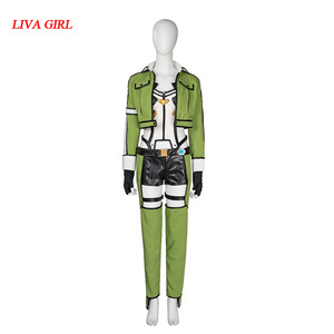 Sword Art Online Косплей Синон Косплей зеленый Женский меч искусство онлайн косплей костюм