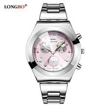 LONGBO Reloj de Las Mujeres Reloj de Cuarzo 2016 Relojes de Pulsera Del Deporte Para Lady Correa Resistente Al Agua de Lujo Completa de Acero Inoxidable Relojes 8399