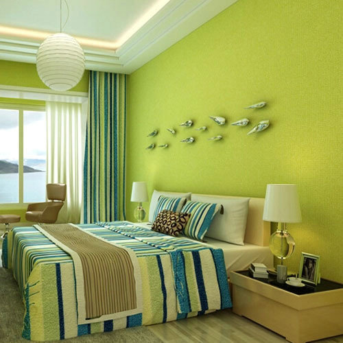 Vinyl wallpaper lemon green for living room bedroom home for Significado d living room