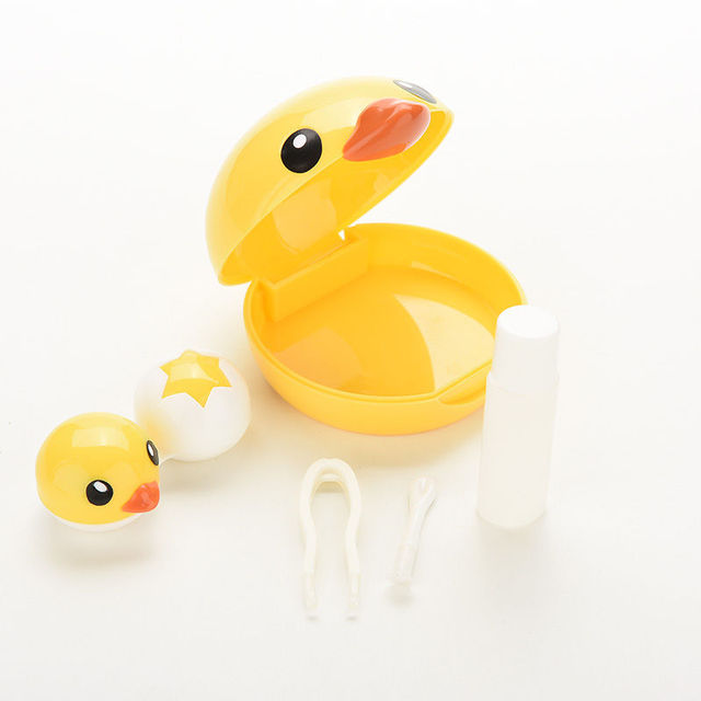 Cute Mini Eyewear Accessories Cartoon Duck Design Contact Lens Box Case Holder Container Case
