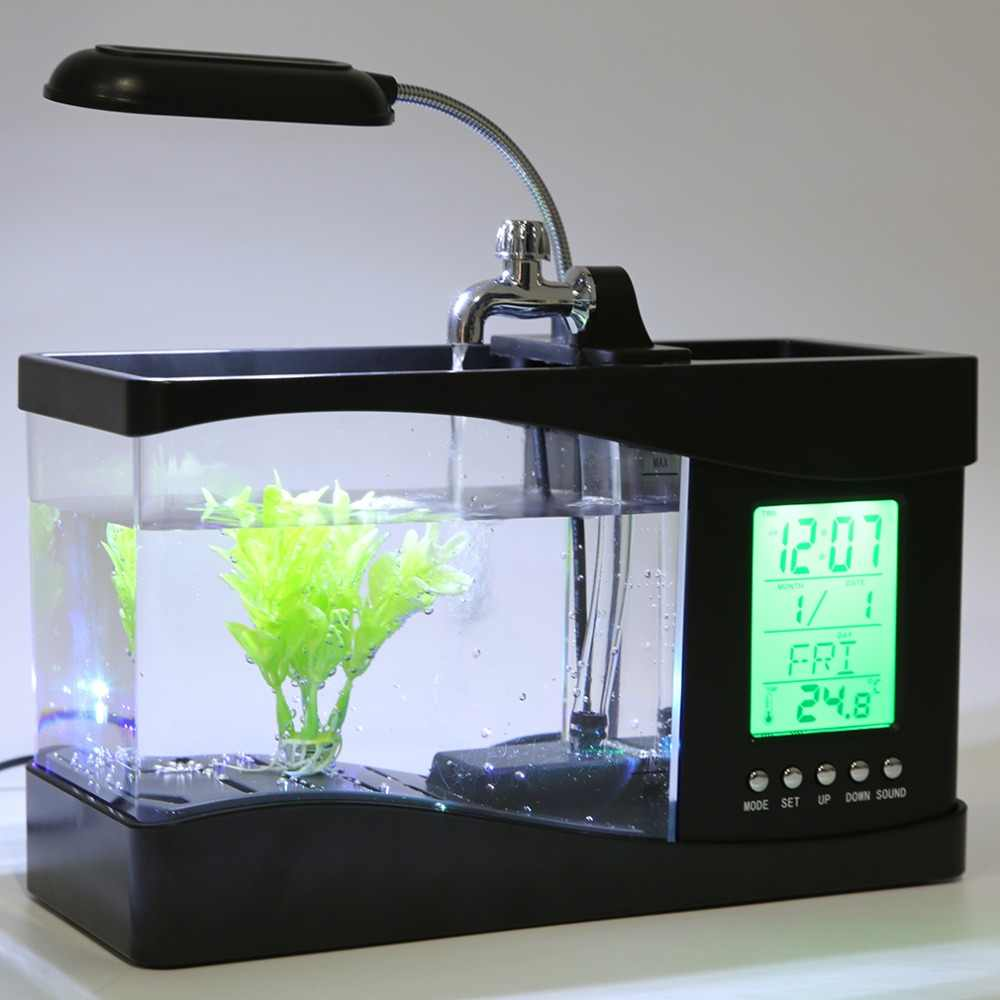 1.5L USB Desktop Mini Fish Tank Aquarium LCD Timer Alarm Clock LED Lamp Light Black recirculation Temperature Calendar