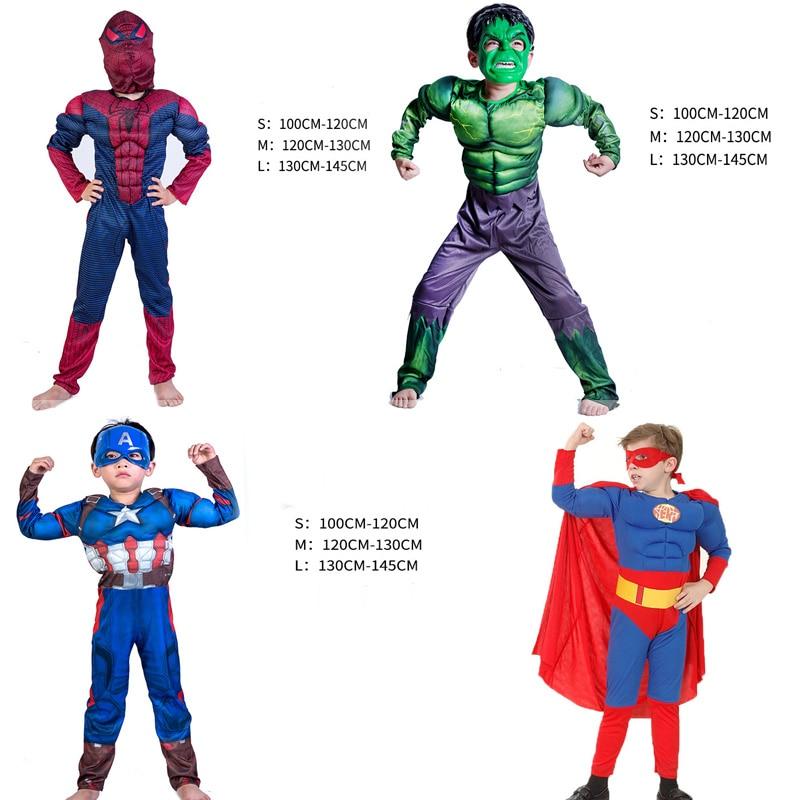 Captain America Superhero Spiderman New Avengers Hulk Boy kids Halloween Carnival Muscle cosplay Costumes