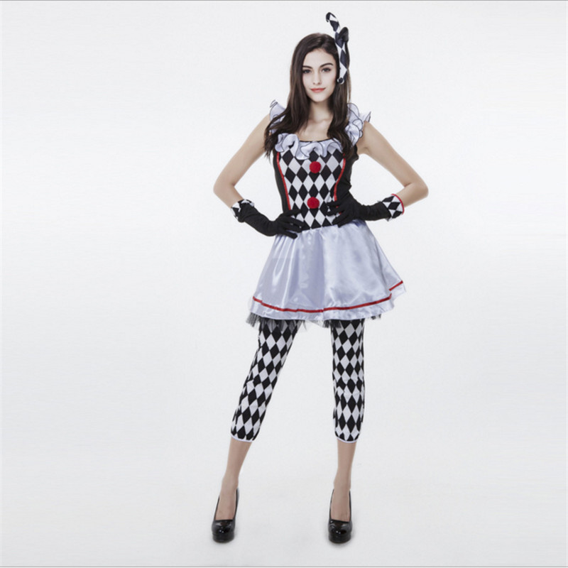 2018new Adult women Clown Costumes Halloween Carnival Party Masquerade Fancy Game Clothing high quality sexy Clown cosplay Dress