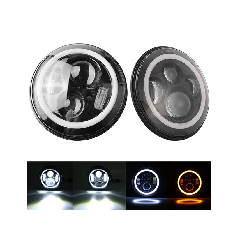 7Inch Round 80W Led Headlight with Angel Eye & DRL & Turn Signal Lights for 97-15 Jeep Wrangler Jeep JK LJ CJ Hummer H1 H2 Motor 4pcs black led front fender flares turn signal light car led side marker lamp for jeep wrangler jk 2007 2015 amber accessories