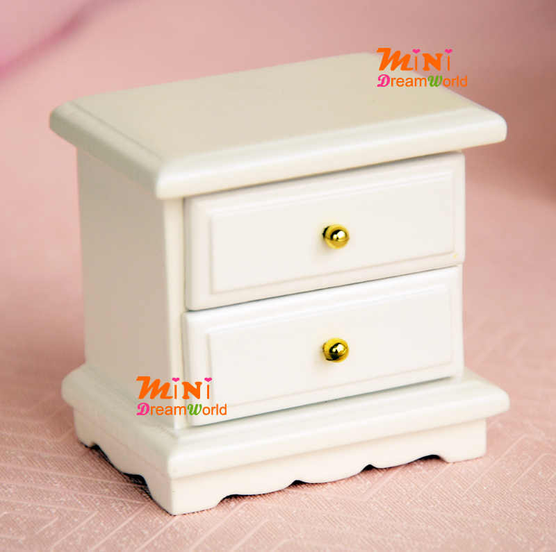 1:12 Dollhouse Miniature Wood PURE White Cabinet Bedroom Sidestand