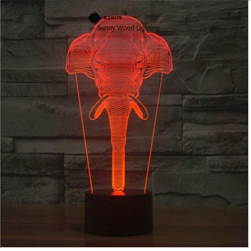 Слон сенсорный выключатель LED 3D, визуальную иллюзию 7 видов цветов Изменение 5 В USB для ноутбука, украшение стола игрушки лампы