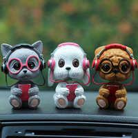 Car Ornament Resin Shaking Head Dog Doll Cute Automobiles Dashboard Bobblehead Shakes Head Cat Toys Home Furnishing Accessories