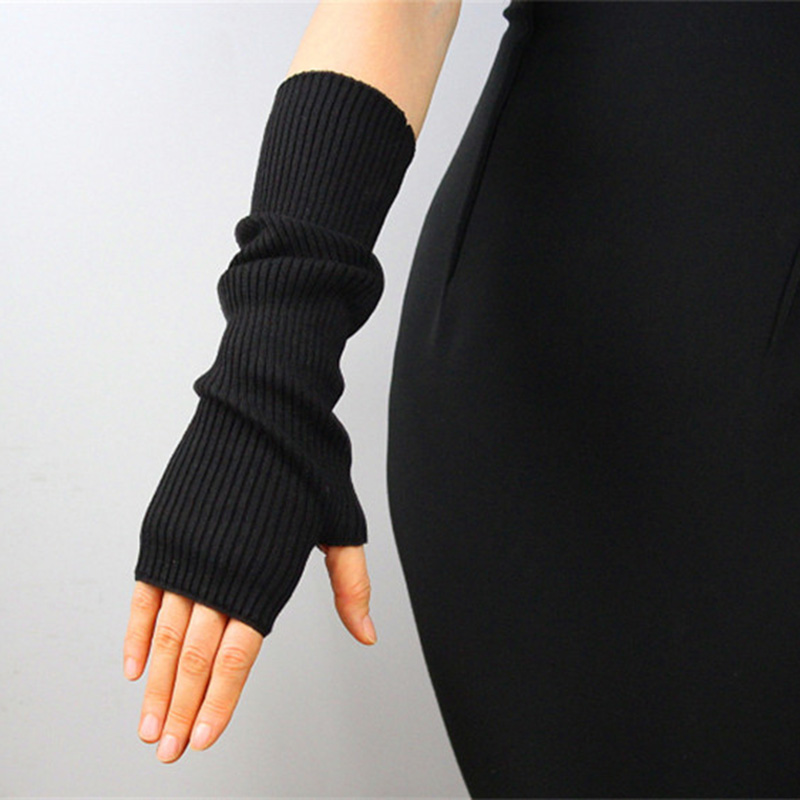 Pure Cashmere Gloves 40cm Long Style Pure Wool Semi-Finger Fingerless Solid Color Autumn Winter Black Knitted Woman Gloves TB103