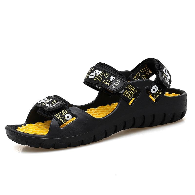2018 Estate in pelle uomo sandali nero semplice da uomo cucito a mano - Scarpe da uomo
