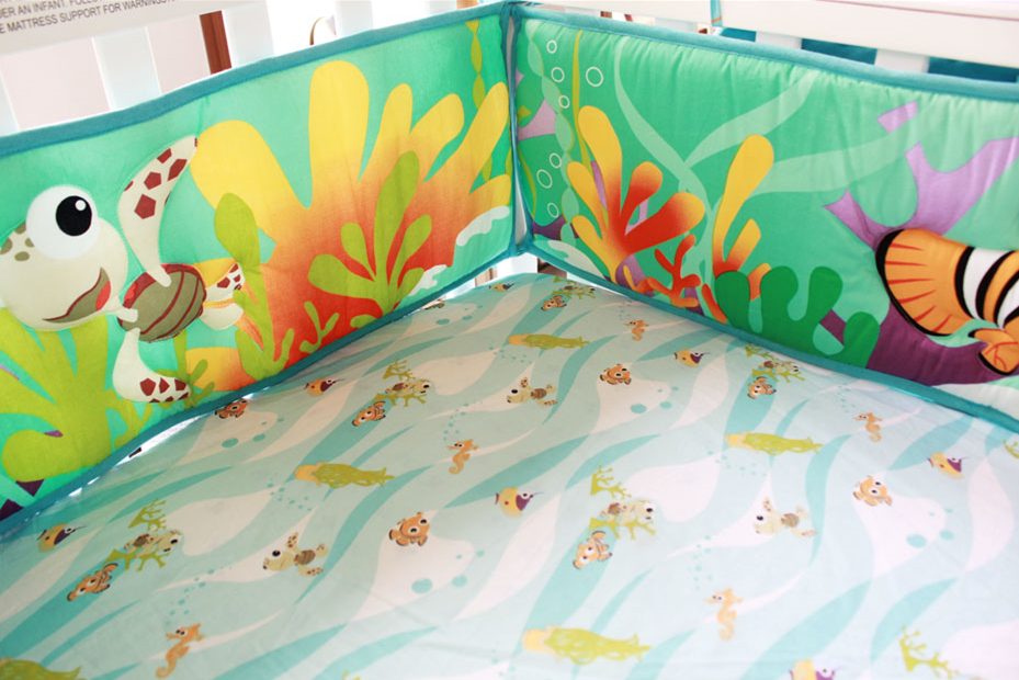 Promotion! 5PCS Ocean baby bedding set baby cot crib bedding set cartoon Cot bedding set for newborn babies ,(4bumper+bed cover) promotion 6pcs 100% cotton baby crib bedding set cot bedding sets baby crib set baby cot sets bumpers sheet pillow cover