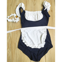Japanese Maid Sukumizu School Swimsuit One Piece Women Swimwear Slimming Padding Bikini Halter Shoulder belt Bathing suit+Bell
