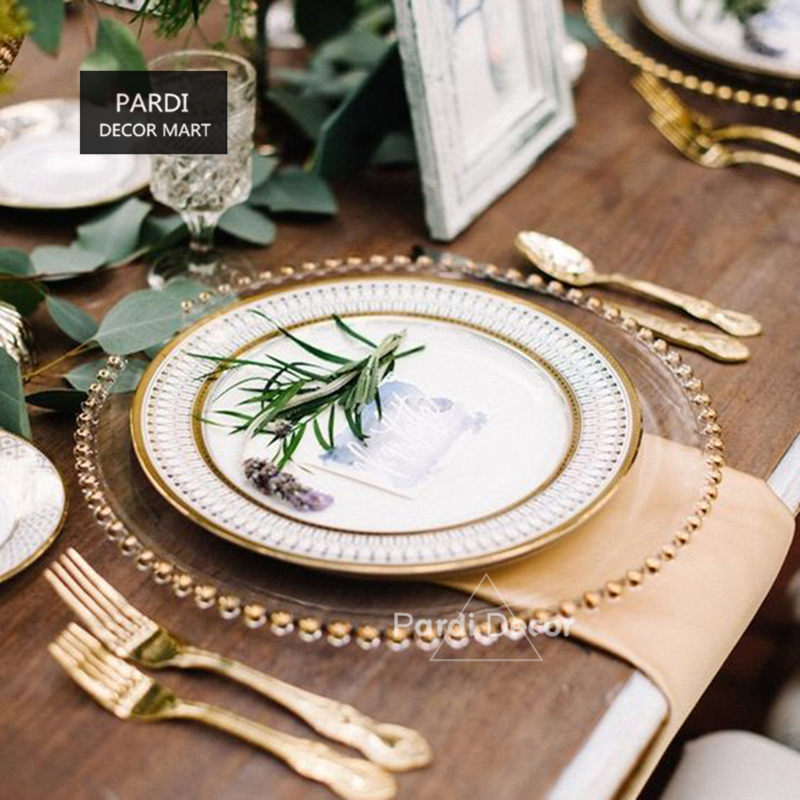 European glass pearl gold inlay dishes steak plate salad dishes party event decoration tableware 1pc/lot