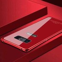 Ultra sottile Telaio In Metallo + 9 H Vetro Temperato Copertura Posteriore Per Samsung Galaxy Note 8 S8 S8 Più la Cassa di Lusso Del Telefono Shockproof casi
