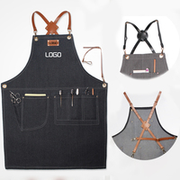 Aprons Denim Leather Simple Uniform Unisex Adult Jeans Aprons for Woman Men Male Lady's Kitchen barber Cooking Pinafores Logo