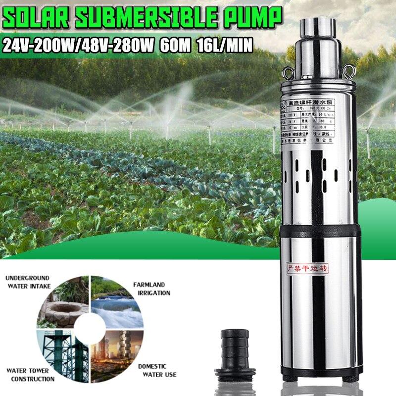 Solaire Pompe À Eau 24 V/48 V 200 W/280 W 16L/Min 40/60 M puits profond pompe submersible pompe d'arrosage pompe de puit pour jardin