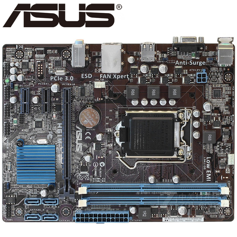 Asus H61M-E Desktop Motherboard H61 Socket LGA 1155 i3 i5 i7 DDR3 16G uATX UEFI BIOS Original Used Mainboard On Sale asus m4a88t m desktop motherboard 880g socket am3 ddr3 sata ii usb2 0 uatx