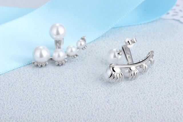 Женские серьги гвоздики с искусственным жемчугом и кристаллами