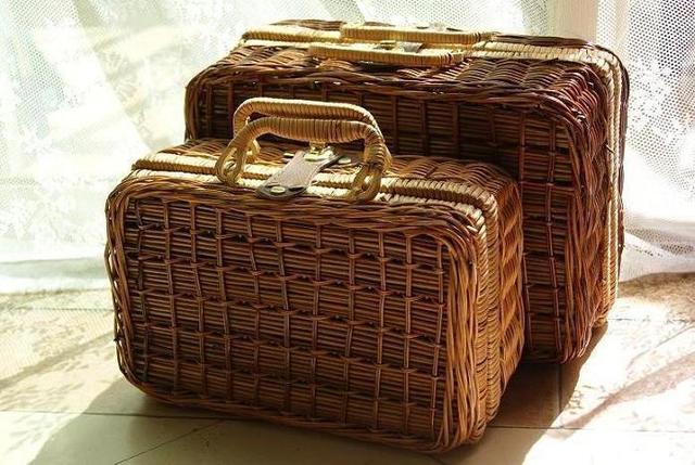 Nostalgic Retro Small Coffee Handmade Rattan Wicker Suitcase Storage Box