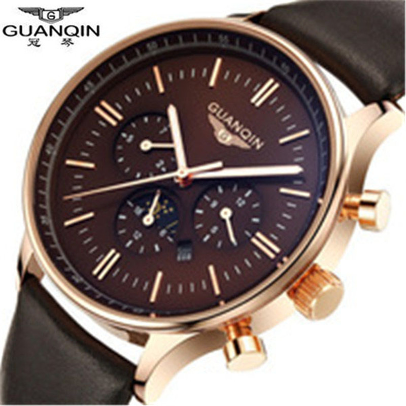 ФОТО Relojes 2016 Watches Men Luxury Brand Guanqin Casual Men's Quartz Watch Waterproof Leather Watches Relogio Masculino