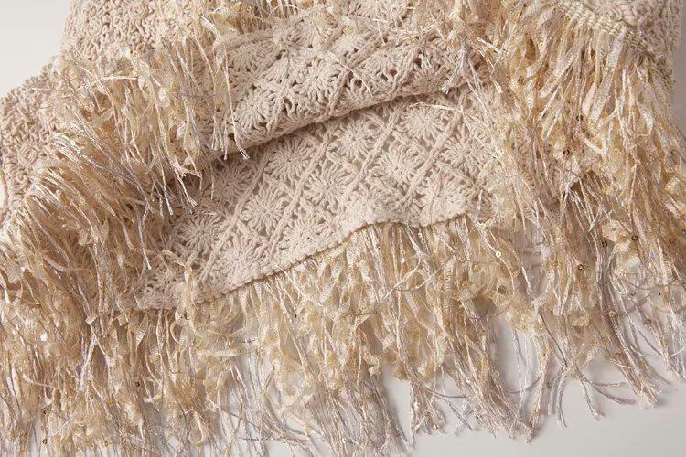 Boho Style Knitting Tassels Tops Sleeveless Vest Lady Summer Tops Vacation Beach Women Blouses