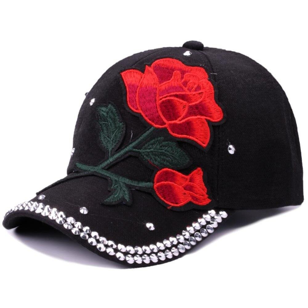 Red Rose Floral Embroidery Baseball Cap Women Fashion Rivet Bone Snapback Hat Caps For Girls Adjustable Classy Travel Visor Hat