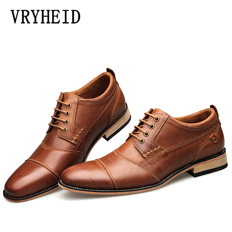 VRYHEID 2019 New Men s Business Dress Shoes Genuine Leather England Fashion Casual Oxfords Shoes Classic
