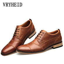 VRYHEID 2020 New Mens Business Dress Shoes Genuine Leather England Fashion Casual Oxfords Shoes Classic Plus Size 7.5 13