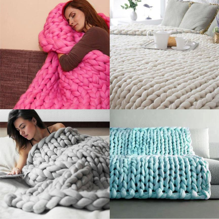 1pcs Handmade Pure Color Chunky Knitted Blanket Wool Thick Line Yarn Merino Throw Sofa Bed Adornment Home Decoration New 2017n27