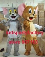 Sommer heißer verkauf!! neue Erwachsene jerry maus tom katze maskottchen kostüm mit anzüge schuhe hände phantasie party kleid Halloween kostüm