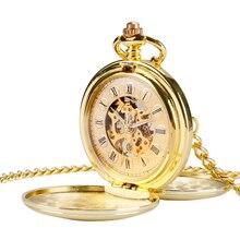 Luxury Gold Double Hunter Pocket Watch Mehāniskās rokas tinumu Skeleton Fob Pulksteņi Vīrieši Sievietes Dāvanu Relogio De Bolso