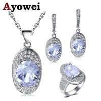 Ayowei одежда высшего качества белый фианит для серебряные серьги цепочки и ожерелья кулон кольца Ювелирные наборы США Размеры #6 #7 #8 #9 #10 JS713A