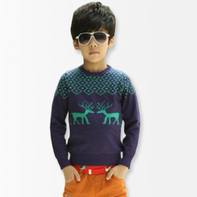 Мальчики Свитер новый 2014 Весна Auturn Лося Дети Свитер Длинный Вязаный Ребенок Кардиган Все для детской одежды и аксессуаров