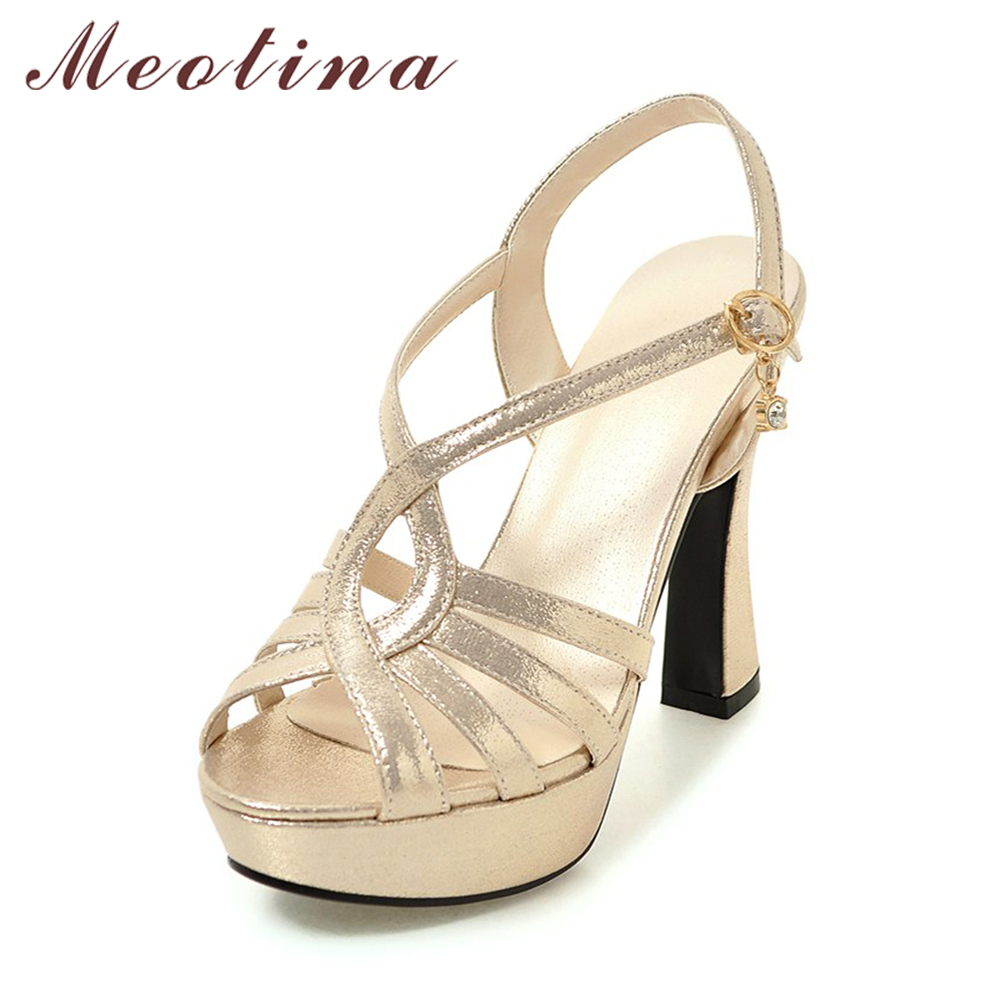 Meotina Shoes Women Sandals Platform High Heels Sandals Gladiator Shoes Summer Sexy Silver Party Wedding Shoes Gold Big Size 43 meotina shoes women sandals rhinestone sandals luxury shoes 2018 beading summer sandals chunky low heels gold wedding shoes