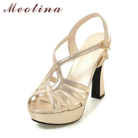 Meotina Shoes Women Sandals Platform High Heels Sandals Gladiator Shoes Summer Sexy Silver Party Wedding Shoes Gold Big Size 43