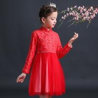 2017子供服チュチュかぎ針編みレースドレスロングスリーブ女の子中国スタイルのプリンセスドレスvestidos秋子供ウェディングドレス