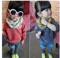 2017 Spring and Autumn baby child o-neck pullover  loop pile fashion girls outerwear