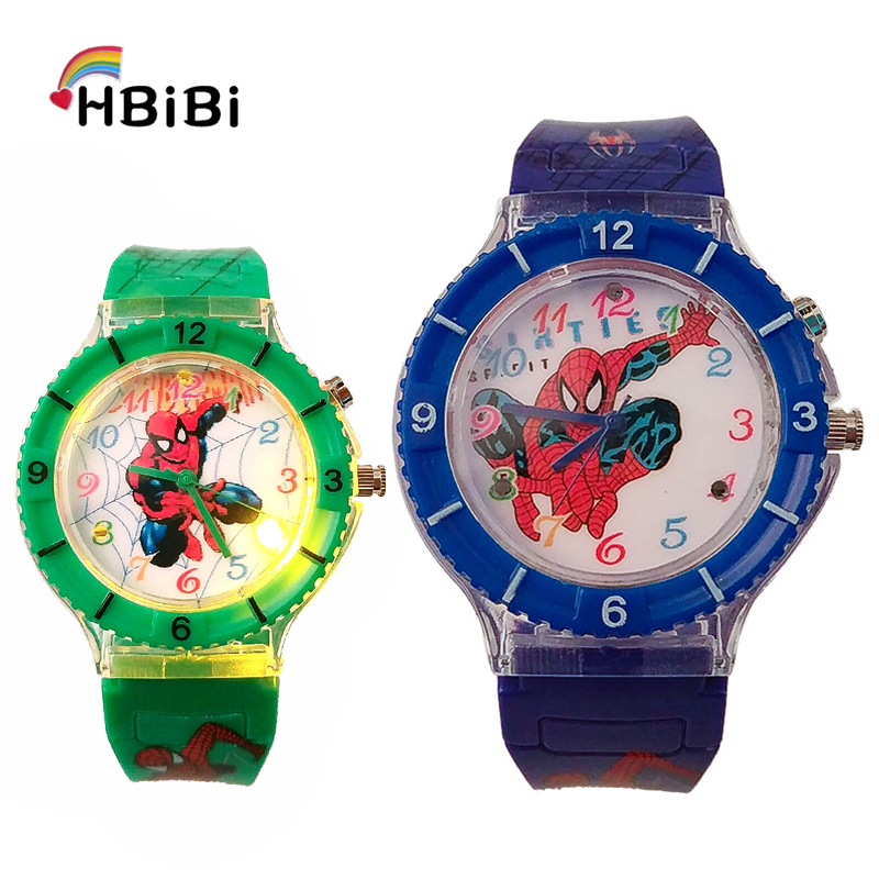 LED Glow Flash Light Spiderman Kids Watches Children Watch Student Boys Girls Clock Casual Sports Jelly Child Luminous Watches