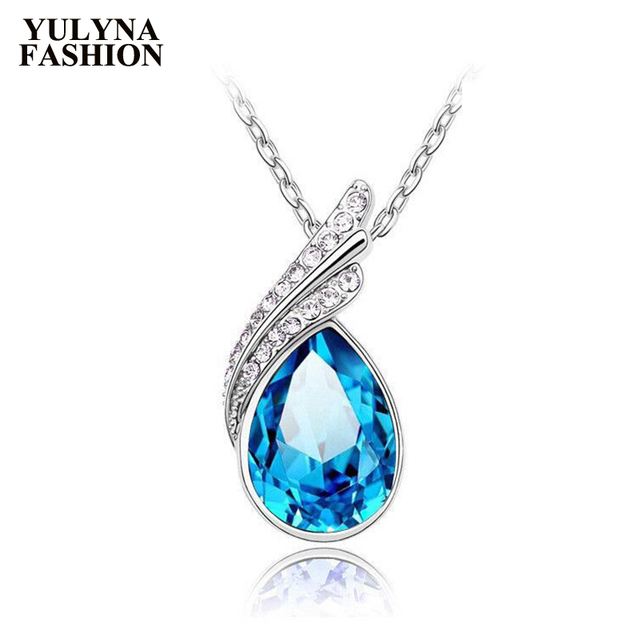 9ed70f32dae96 US $3.99 |YULYNA Fashion Charm Blue Crystal Necklaces Women Jewelry Drop  Water Pendant Necklace Women Long Necklace Jewelry Gift 2019 New-in  Necklaces ...